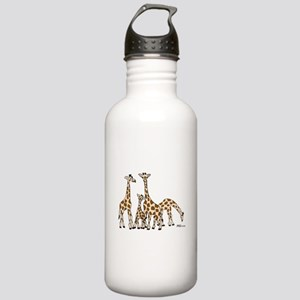 Giraffe Family Portrait in Browns and Beige Water