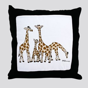 Giraffe Family Portrait in Browns and Beige Throw