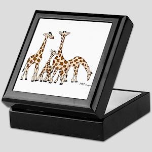 Giraffe Family Portrait In Browns And Keepsake Box