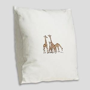 Giraffe Family Portrait in Browns and Beige Burlap