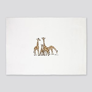 Giraffe Family Portrait in Browns and Beige 5'x7'A