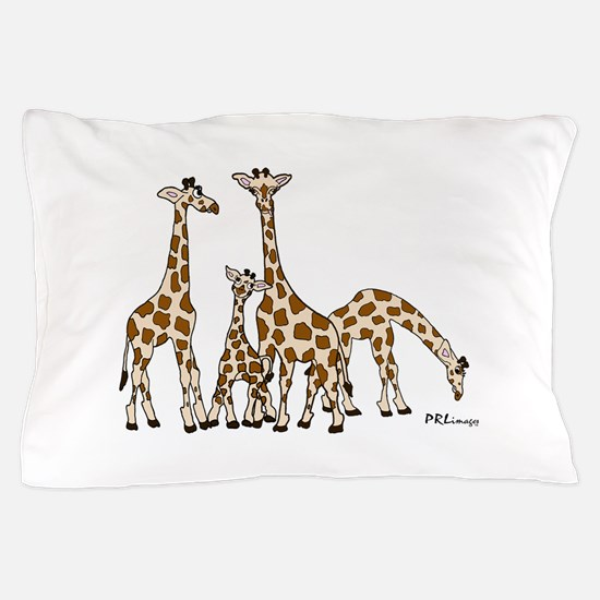 Giraffe Family Portrait in Browns and Beige Pillow