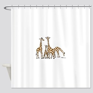 Giraffe Family Portrait in Browns and Beige Shower