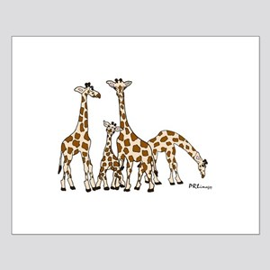 Giraffe Family Portrait in Browns and Beige Poster