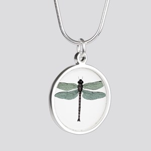Dragonfly Silver Round Necklace