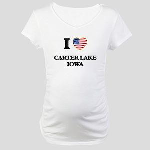 I love Carter Lake Iowa Maternity T-Shirt