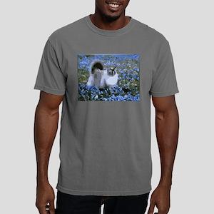 Cat Blue Flowers Landscape T-Shirt