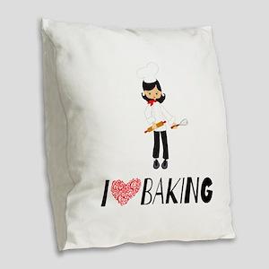 I love Baking Burlap Throw Pillow