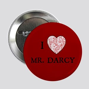 """Red """"I HEART MR. DARCY"""" Button"""