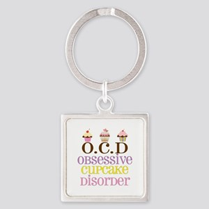 Obsessive Cupcake Disorder Square Keychain