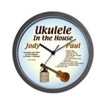 Ukulele In the House Wall Clock