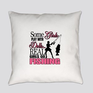 Real Girls Go Fishing Everyday Pillow
