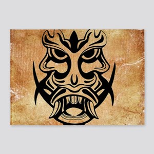 Vicious Tribal Mask Black Grunge 00 5'x7'Area Rug