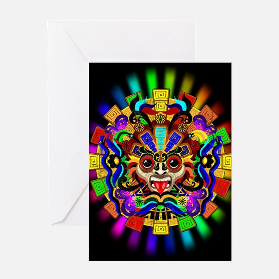 Aztec Warrior Mask Rainbow Colors Greeting Cards
