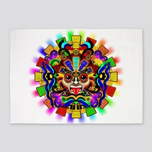 Aztec Warrior Mask Rainbow Colors 5'x7'Area Rug