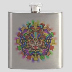 Aztec Warrior Mask Rainbow Colors Flask