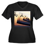 Basketball H Women's Plus Size V-Neck Dark T-Shirt