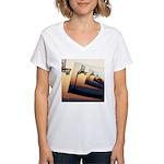 Basketball Hoop Silhouette Women's V-Neck T-Shirt