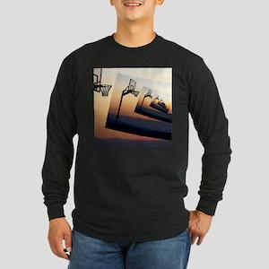 Basketball Hoop Silhouett Long Sleeve Dark T-Shirt