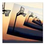 Basketball Hoop Silhouette Square Car Magnet 3