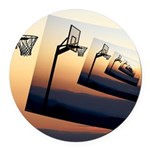 Basketball Hoop Silhouette Round Car Magnet