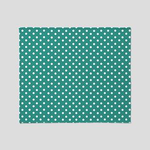 Jade and White Polka Dot Throw Blanket