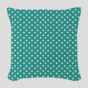 Jade and White Polka Dot Woven Throw Pillow