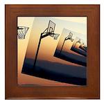 Basketball Hoop Silhouette Framed Tile