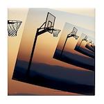 Basketball Hoop Silhouette Tile Coaster