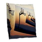 Basketball Hoop Silhouette Burlap Throw Pillow