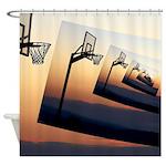 Basketball Hoop Silhouette Shower Curtain