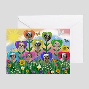Shih Tzu Heart Garden Greeting Card
