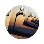 Basketball Hoop Silhouette Ornament (Round)