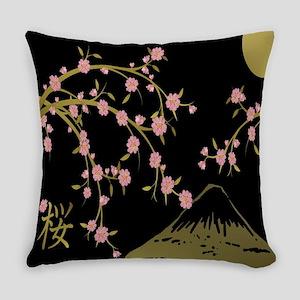Pink Sakura Gold Black Everyday Pillow