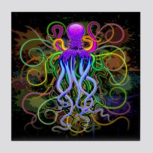 Octopus Psychedelic Luminescence Tile Coaster