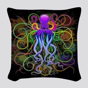 Octopus Psychedelic Luminescence Woven Throw Pillo