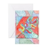 Multicolor Oak Leaf Art Greeting Card