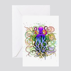 Octopus Psychedelic Luminescence Greeting Cards