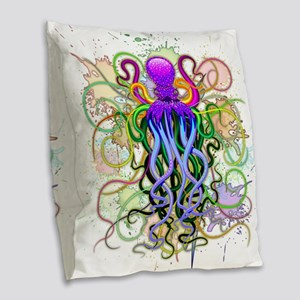 Octopus Psychedelic Luminescence Burlap Throw Pill
