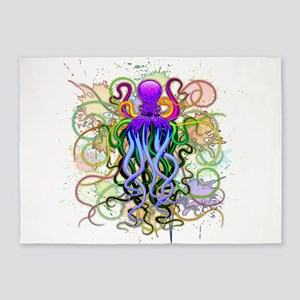 Octopus Psychedelic Luminescence 5'x7'Area Rug