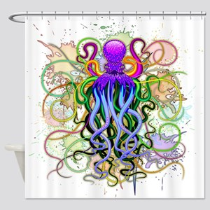 Octopus Psychedelic Luminescence Shower Curtain