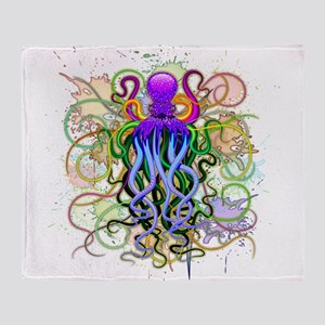 Octopus Psychedelic Luminescence Throw Blanket