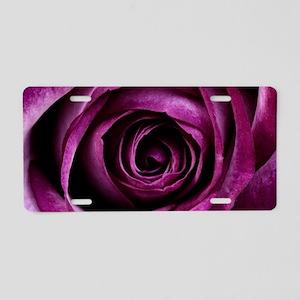Purple Rose Aluminum License Plate