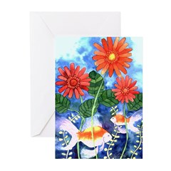 Fish and Flowers Art Greeting Cards (Pk of 20)