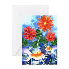 Fish and Flowers Art Greeting Card