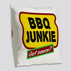 BBQ Junkie Burlap Throw Pillow