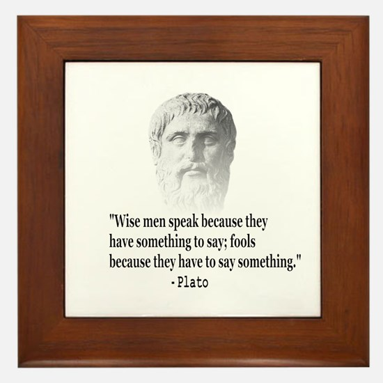 Quote By Plato Framed Tile