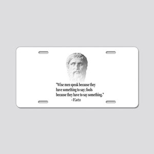 Quote By Plato Aluminum License Plate