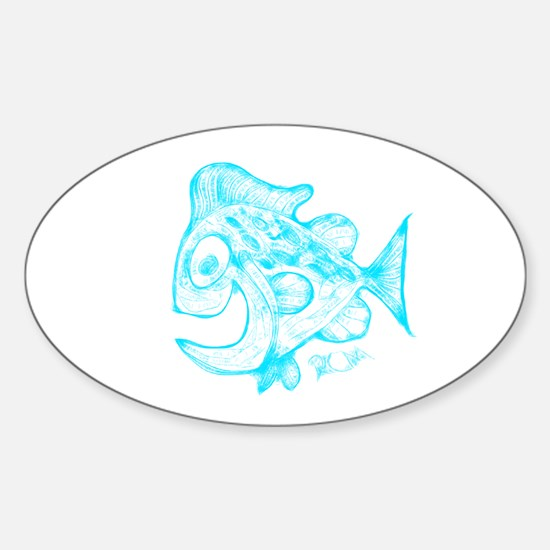 Happy Fish Abstract Art blue Decal