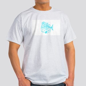 Happy Fish Abstract Art blue T-Shirt
